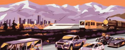Illustration of vehicles with mountains and city skyline in background